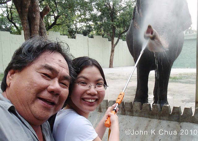 Papa, Maali the Elephant, and me