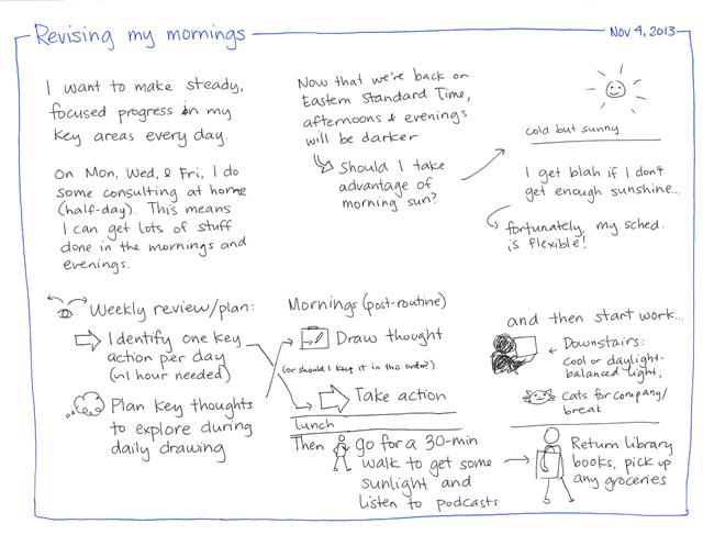 2013-11-04 Revising my mornings