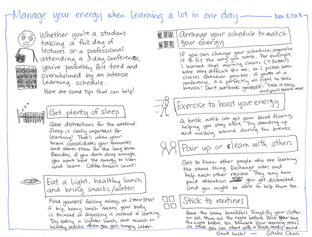 2013-11-08 Manage your energy when learning a lot in one day