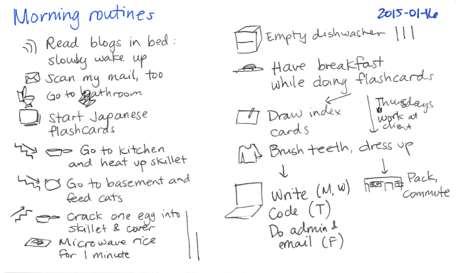 2015-01-16 Morning routines -- index card #life #routines