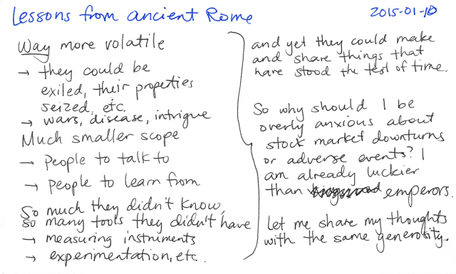 2015-01-10 Lessons from ancient Rome -- index card #philosophy