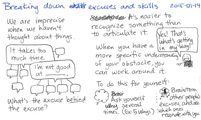 2015-01-14 Breaking down excuses -- index card #excuses #breakdown