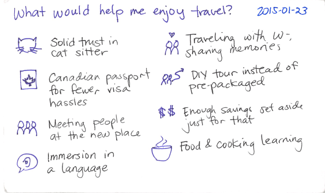 2015-01-23 What would help me enjoy travel -- index card