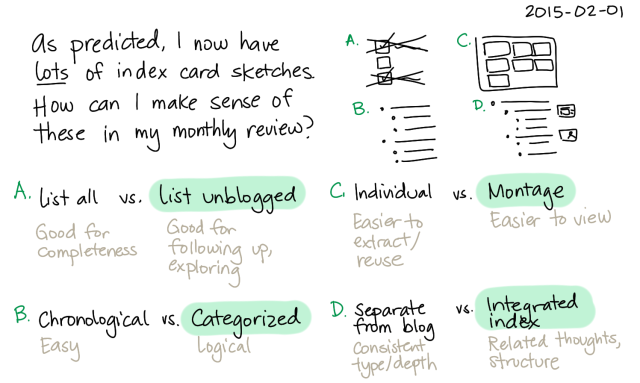 2015-02-01 Index card sketches and monthly reviews -- index card #organization #pkm #indexing