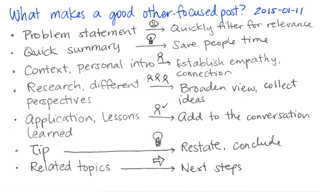 2015-01-11 What makes a good other-focused post -- index card #writing