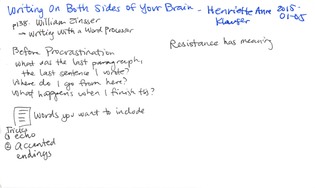2015-01-15 Writing on Both Sides of Your Brain - Henriette Anne Klauser -- index card #book #raw