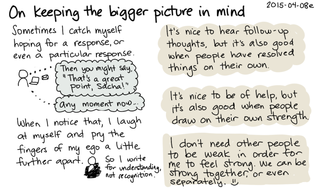 2015-04-08e On keeping the bigger picture in mind -- index card #connecting #support #ego