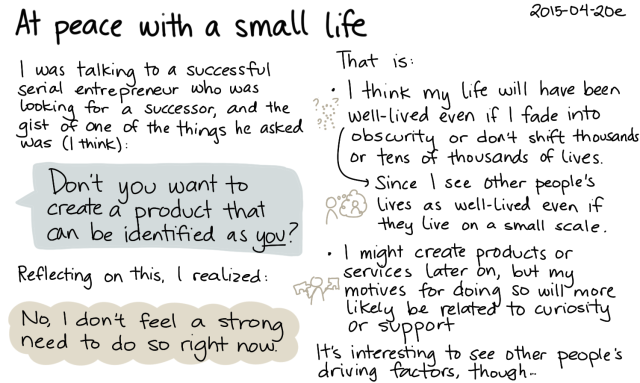 2015-04-20e At peace with a small life -- index card #experiment
