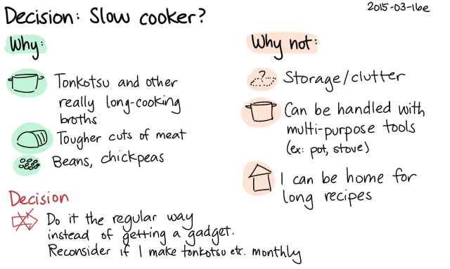 2015-03-16e Decision - Slow cooker -- index card #decision #cooking