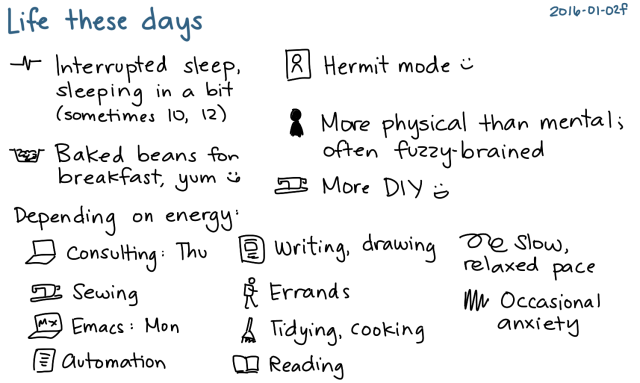 2016-01-02f Life these days -- index card #life #routines