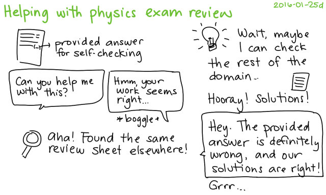2016-01-25d Helping with physics exam review -- index card #studying #tutoring #family #school