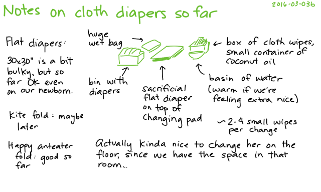 2016-03-03b Notes on cloth diapers so far -- index card #parenting #diapers
